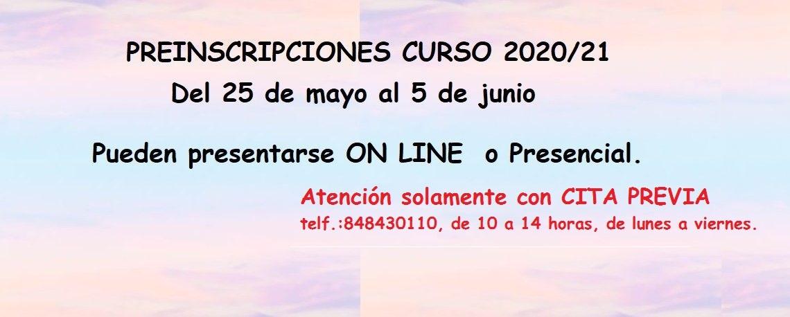 PREINSCRIPCIÓN 2020/2021